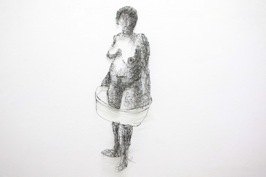 "Dhobi (2015), Steel wire ""drawing"", 810 x 280 mm."