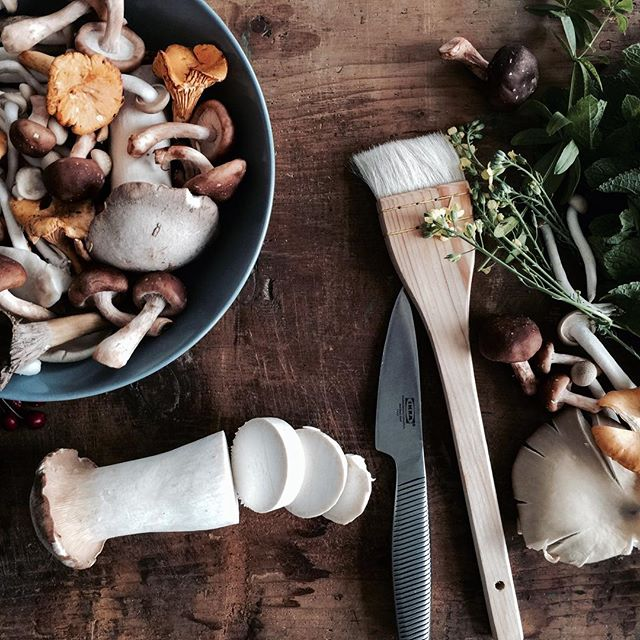 Mushrooms waiting for the camera. Styled by @mettehelbak #ikeafood #mushrooms #photoshoot
