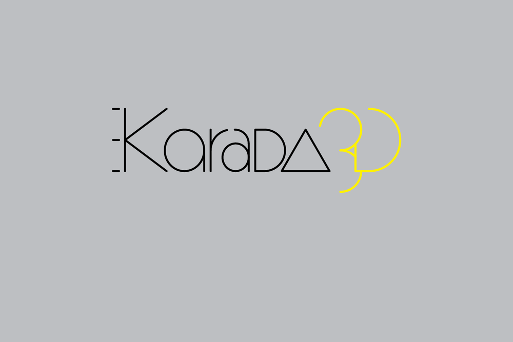 """Karada3D is a body scan web app, aiming for both fashion and fitness users. The different renderings of the a's are an allusion to """"every body is different,"""" and the triangle can also be interpreted as delta, the math symbol for change."""