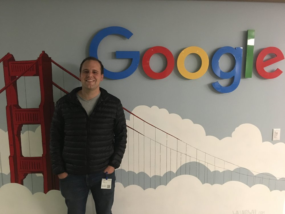 Stuart van der Veen on the Google Launchpad premises, and below with a participating startup.
