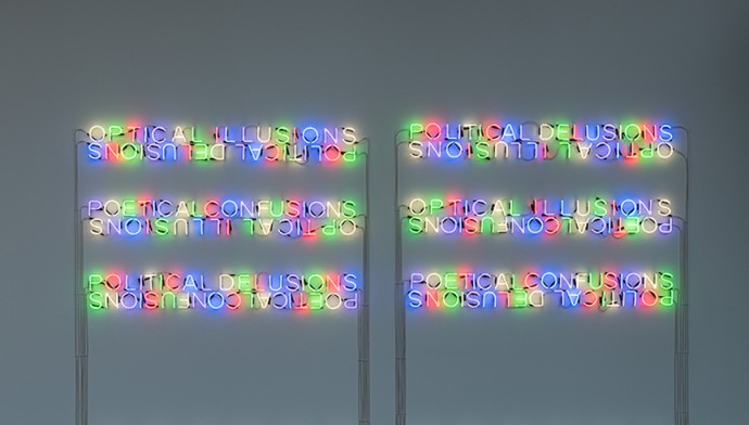 Etchells, T. (2014).  Mirror Pieces . [Neon Lights] Plymouth: Plymouth Arts Centre.