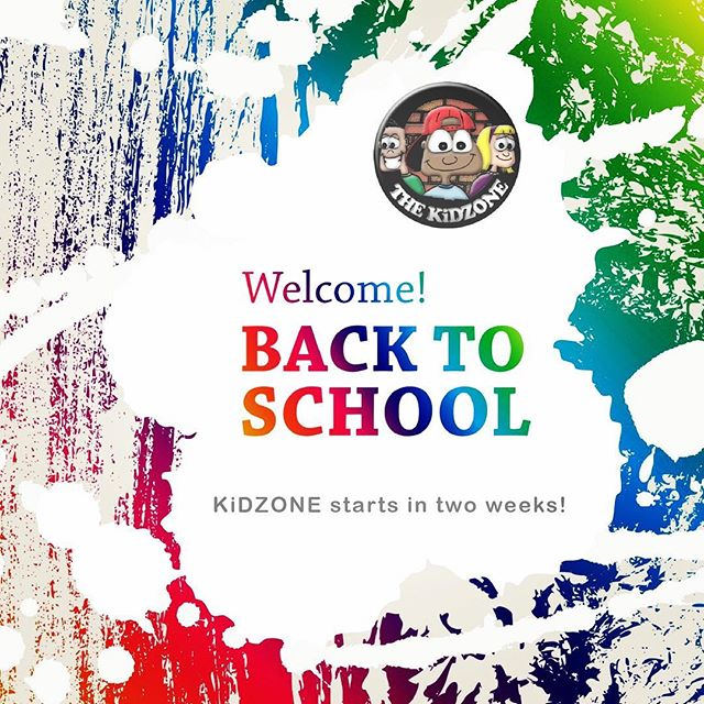 KiDZONE wants to welcome all our KiDZONE kids, their families and those who serve on our team back to school. We hope you had a great summer and have an amazing first day of school. KiDZONE will be back in two weeks! See you on September 17th,18th and 20th!