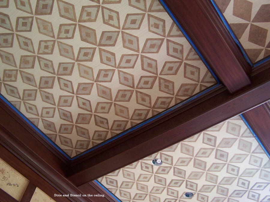 Two layer stenciled paneled ceiling