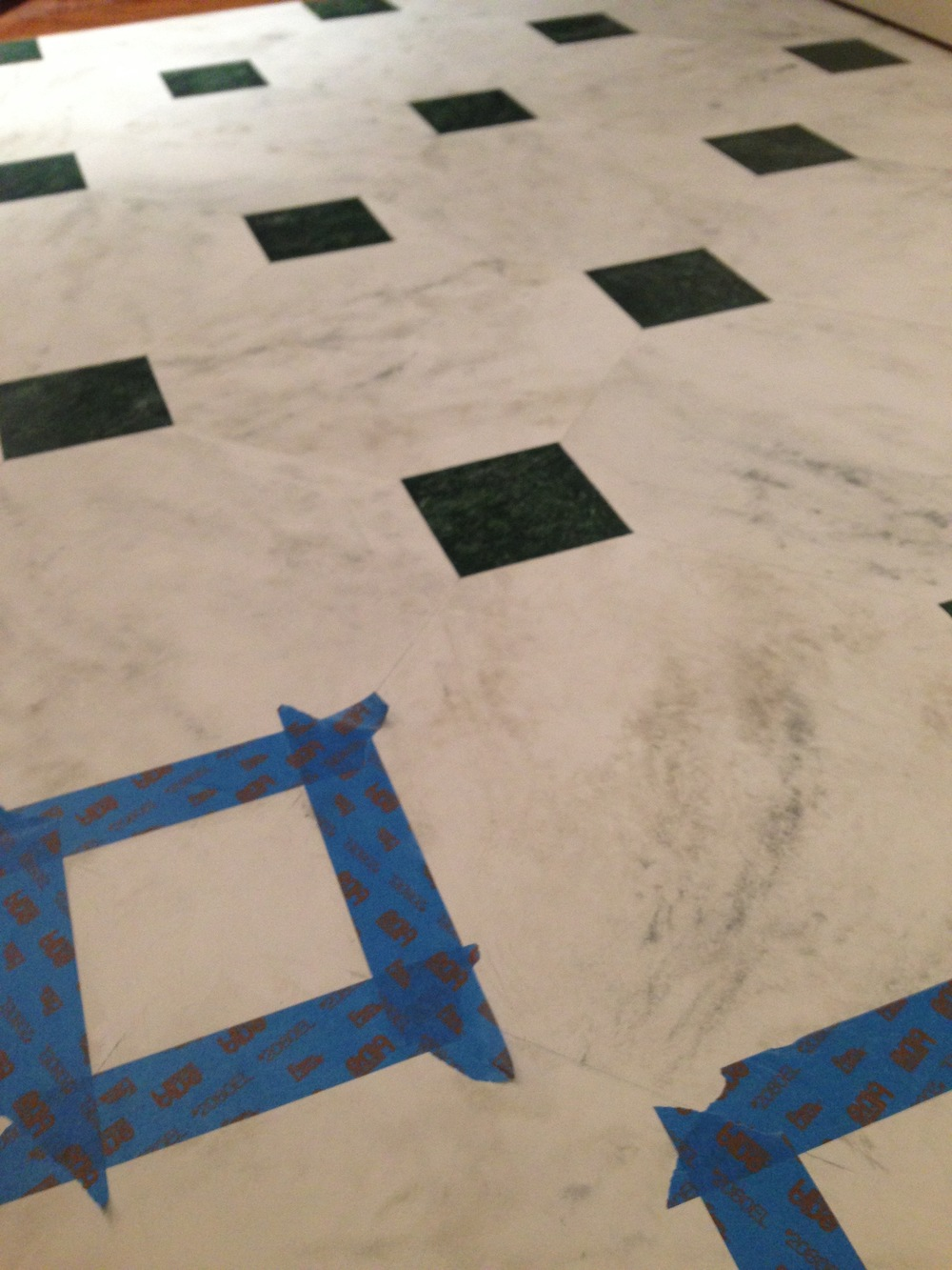 Faux marble painted floor