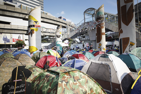 Bangkok, Thailand, January 13, 2014 : Tent protesters to stay overnight at MBK, Pathumwan intersection in Bangkok, Thailand. iStock by Getty Images