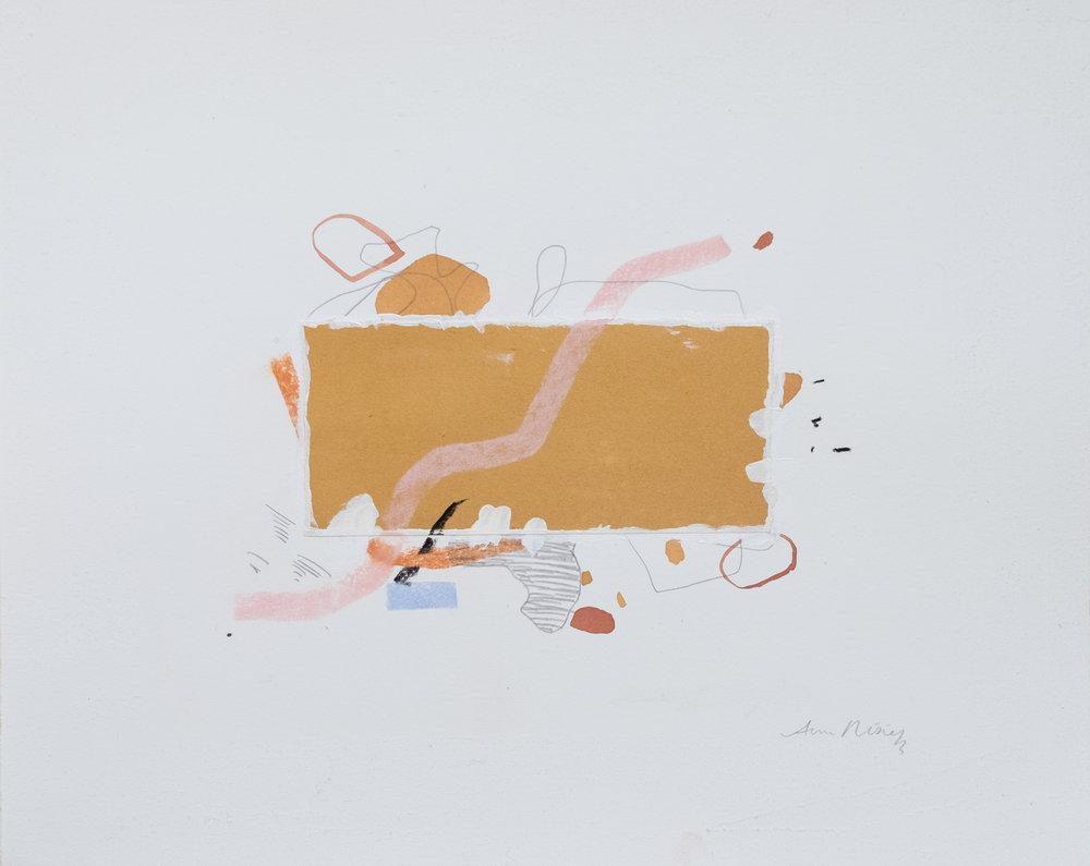 "Wiling / 11"" x 14"" / gesso, paper, acrylic paint, graphite, chalk pastel on cotton paper"