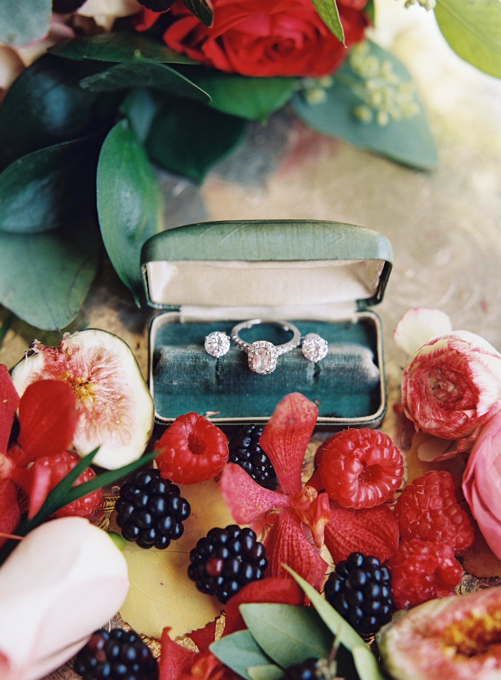 Intimate Luxury Mountain Wedding | Velvet Jewelry Box