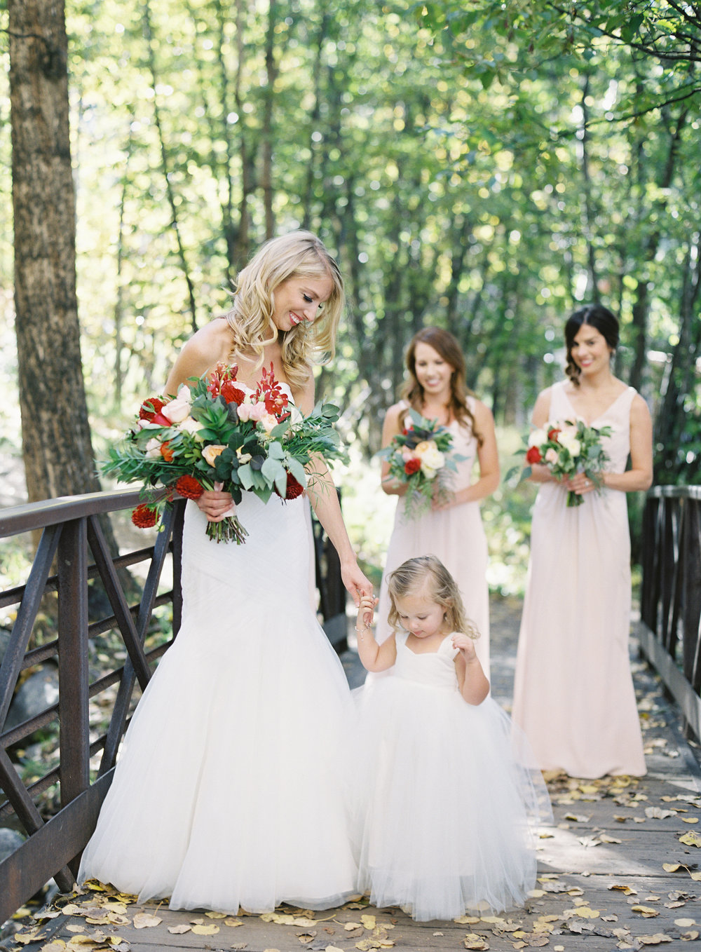 Intimate Luxury Mountain Wedding | Bride with Flower Girl