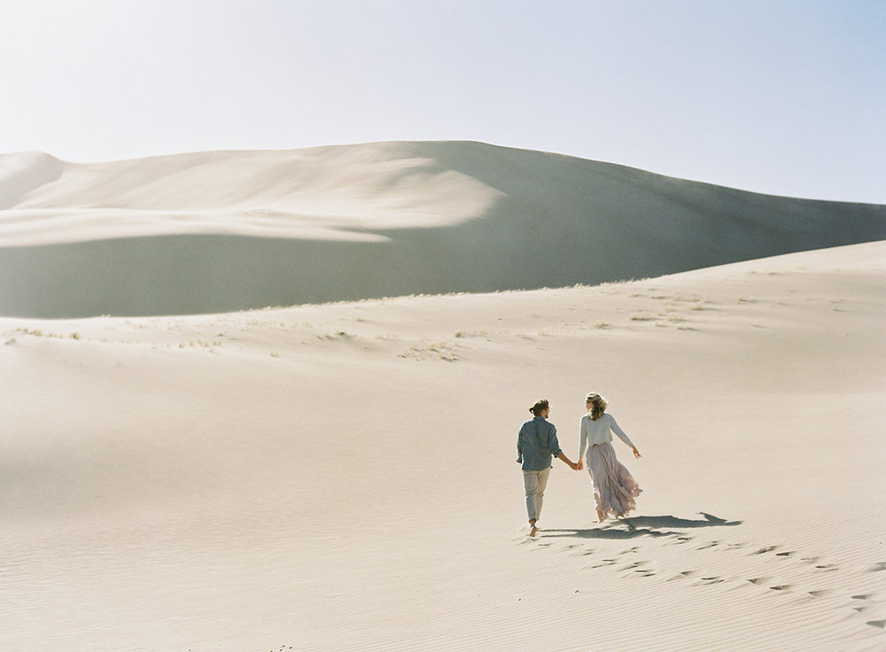 colorado sand dunes adventure engagement session on film