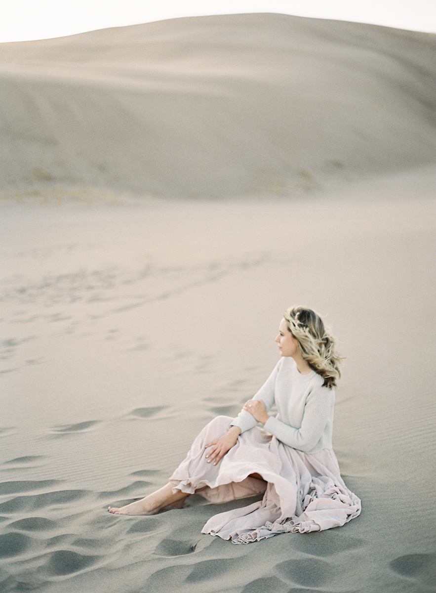 flowy dress in the colorado desert on film