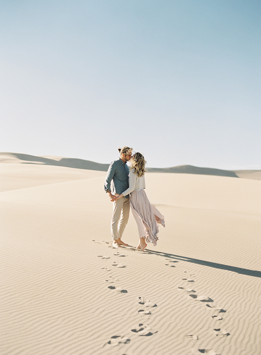 dreamy sand dunes engagement session on film