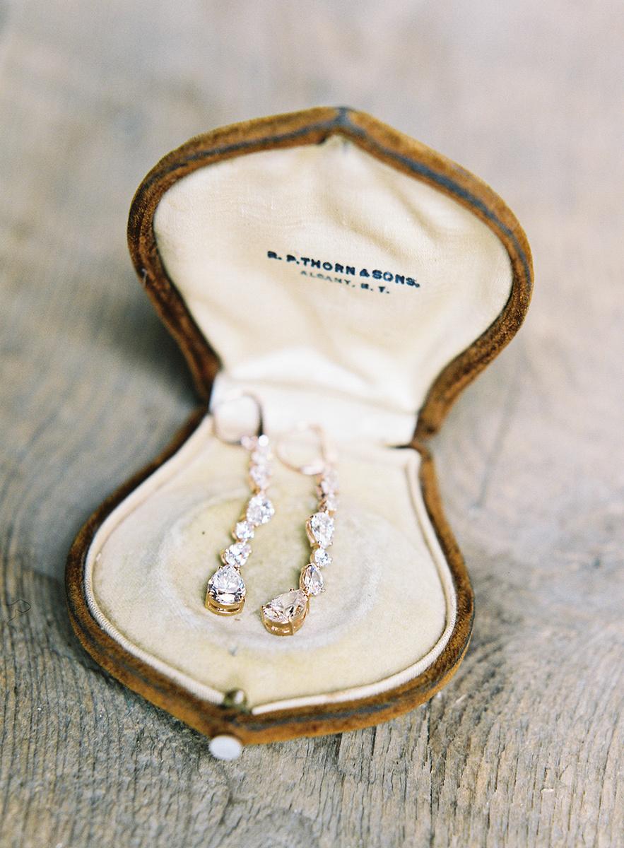 Beautiful teardrop earrings on film