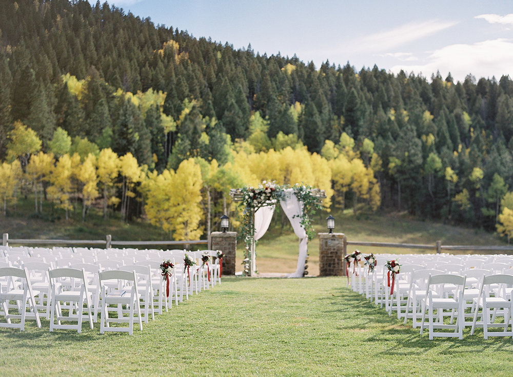 Wedding Ceremony with Aspen Backdrop