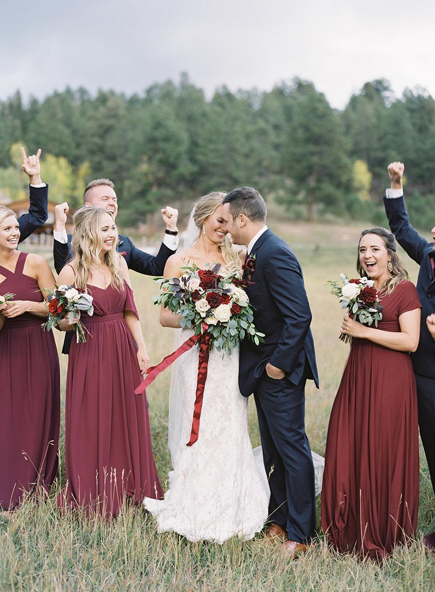 Colorado Bride and Groom with wedding party
