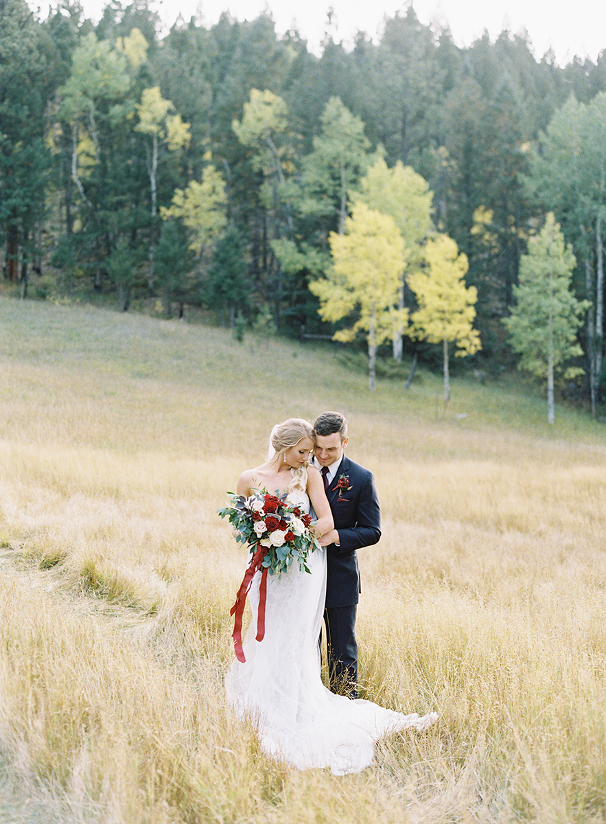 Romantic Fall Bride and Groom on Film