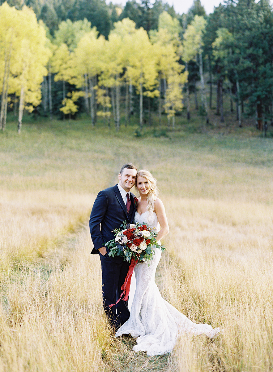Colorful Colorado Fall Bride and Groom on Film