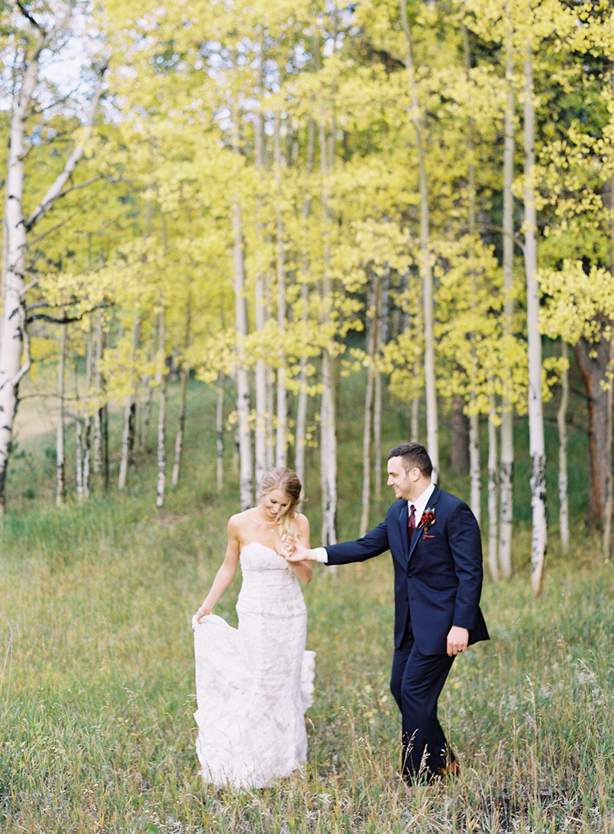Bride and Groom with Colorado Aspens