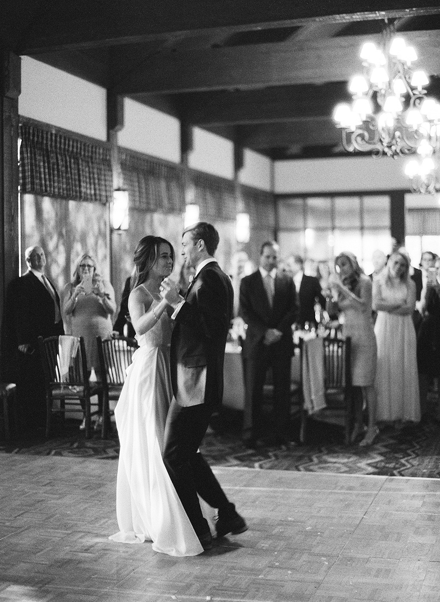Bride and Groom dancing on Film