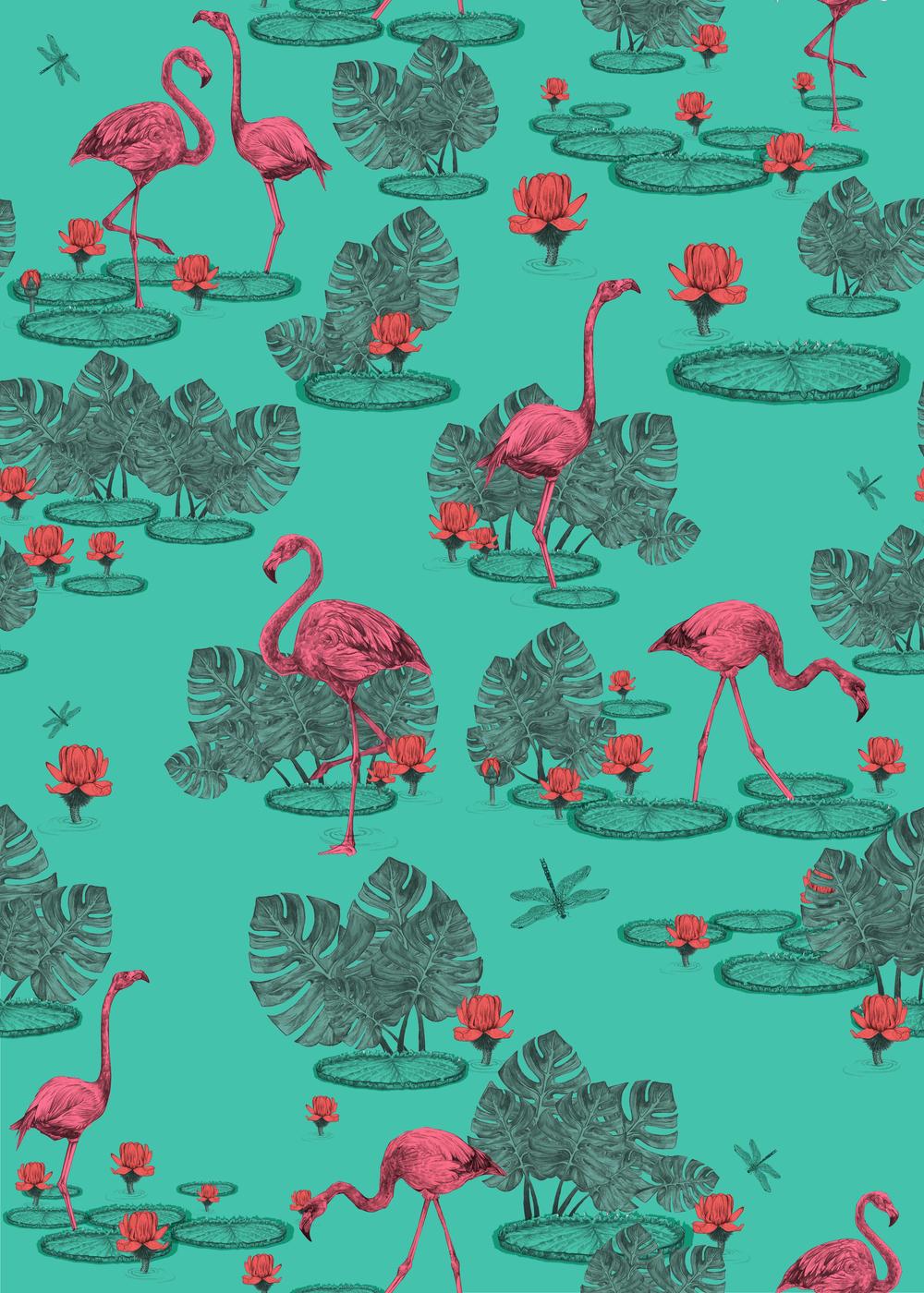 Palm Springs - Florida Flamingos cushion cover design