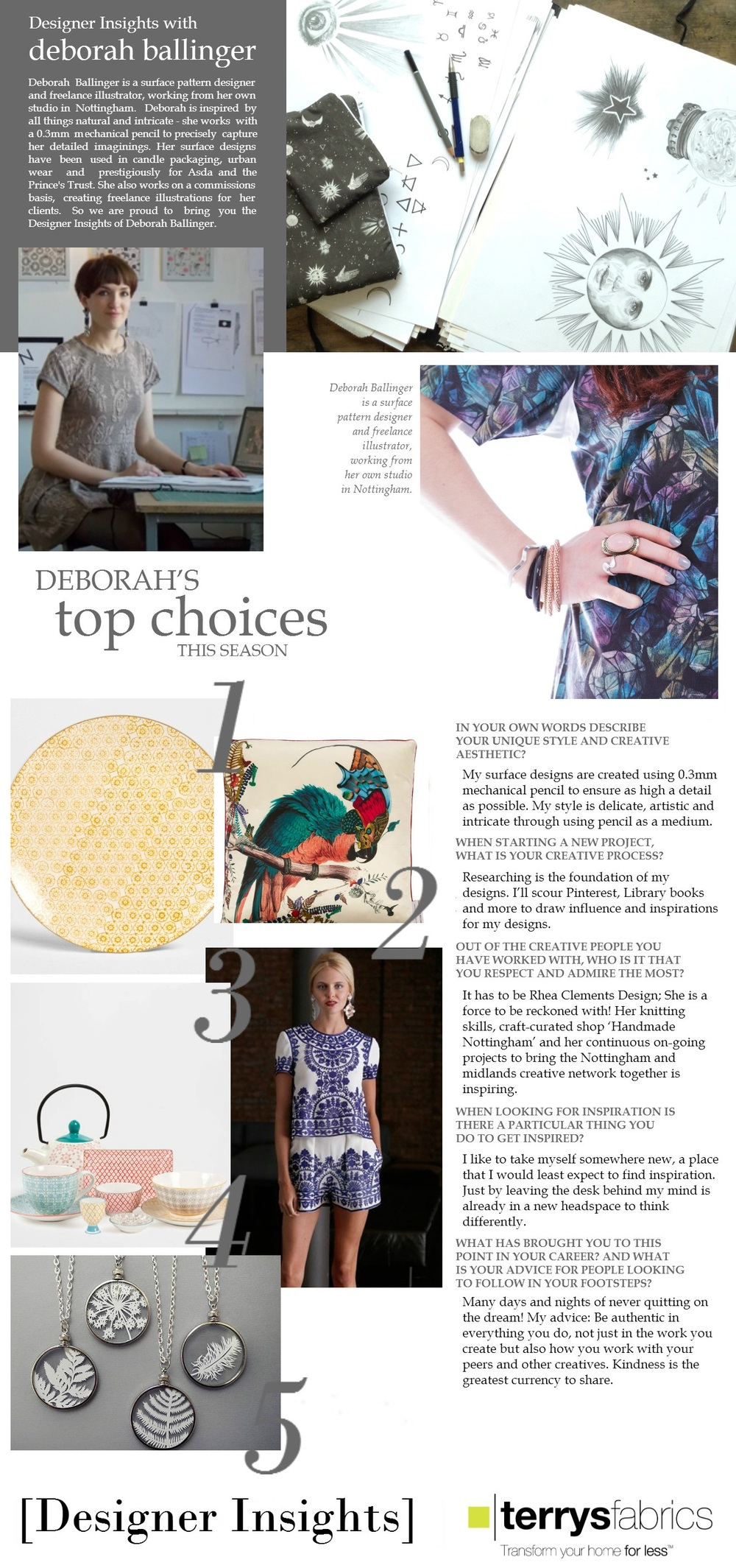 Terry's Fabrics Blog Feature 'Designer Insights',