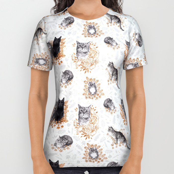 Le Chat Toile de Jouy All Over Tee