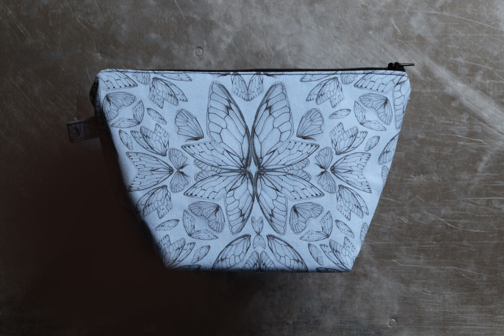 Insect Wings Large Cosemtic Bag in blue 'Serenity'