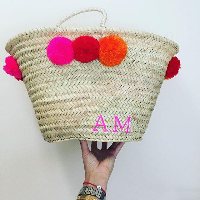 Large Pom Pom Bag   Bright Pink Monogram