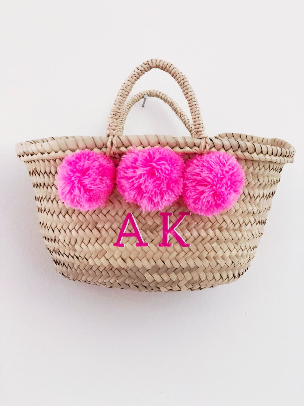 Custom Bright Pink Mini Pom Basket