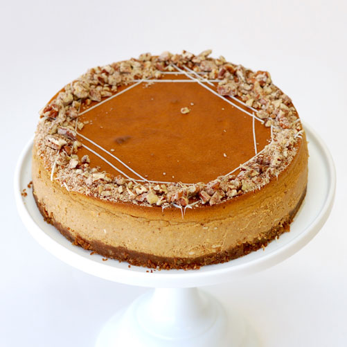 Pumpkin Cheesecake with Pecan-Graham Cracker Crust