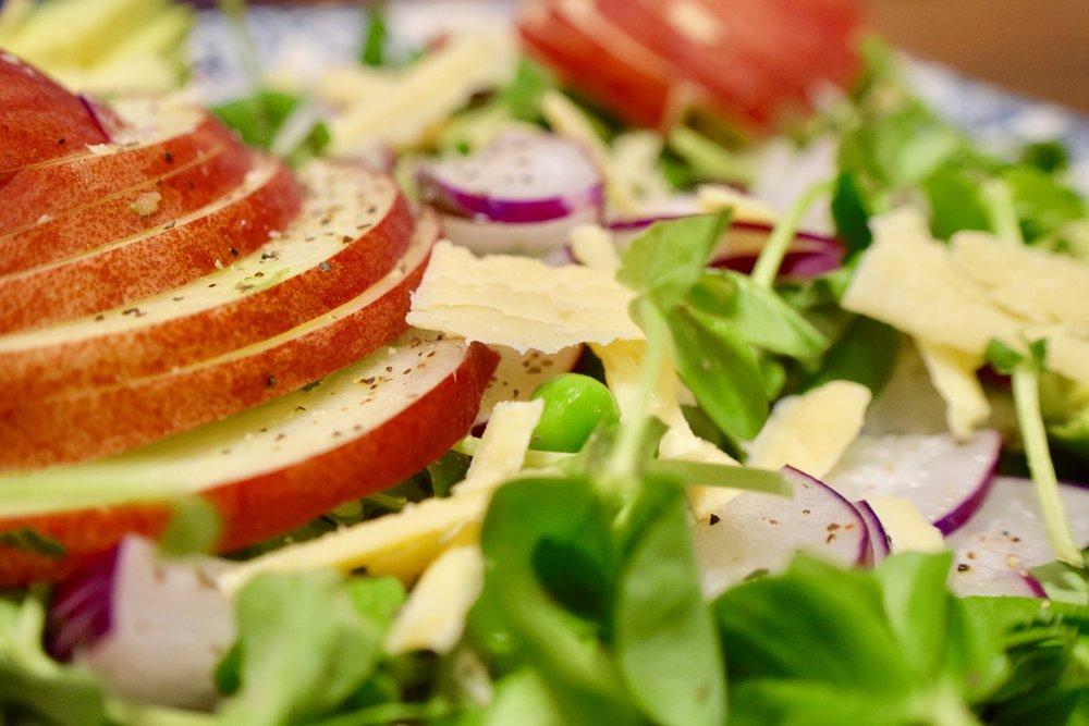 Pea Shoot + White Peach Salad -