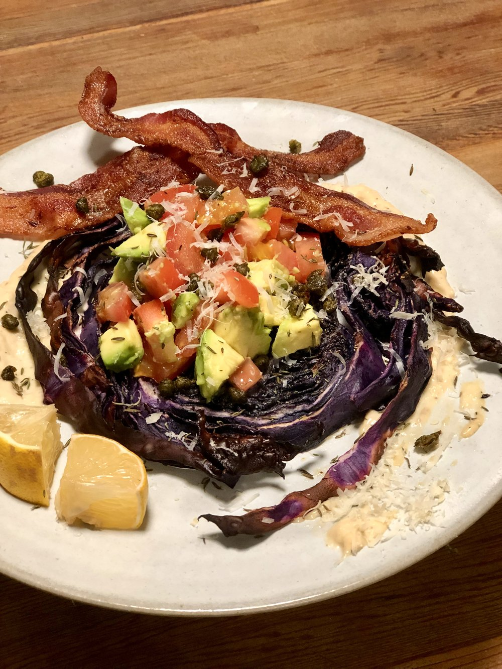Roasted Cabbage Caesar Salad -