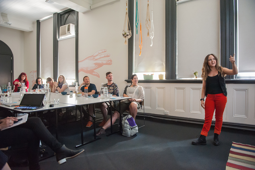 mim presenting at un-school of disruptive desgn melbourne
