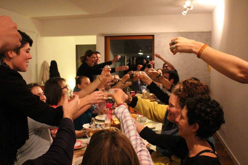 Fun times as we cheers at the UnSchool Secret Dinner Party (mexican themed!)