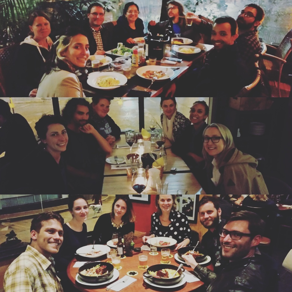 Group dinners with the mentors around town