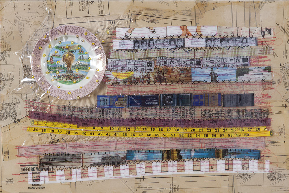 """Oklahoma Gives Women the Right to Vote on February, 28th 1920"" Mixed Media Collage with Hand and Machine Embroidery 24"" x 36"" $2,900"