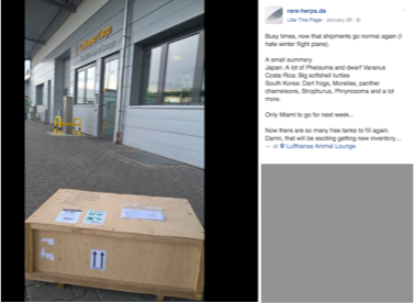 Image 22. A package waits outside of Lufthansa Cargo's Animal Lounge. Source: Facebook