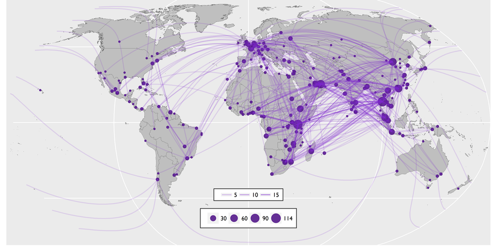 The above routes map charts all air trafficking routes contained within the C4ADS Air Seizure Database (January 2009 to August 2016).