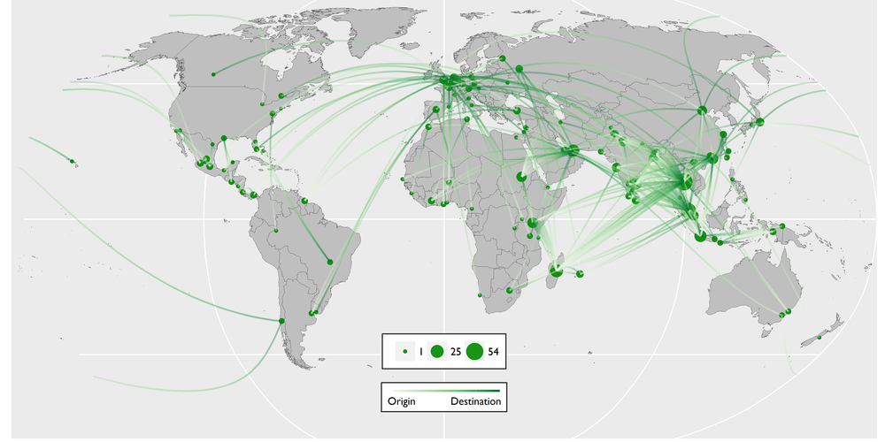 The above routes map portrays the reptile trafficking routes contained within the C4ADS Air Seizure Database (January 2009 to August 2016).