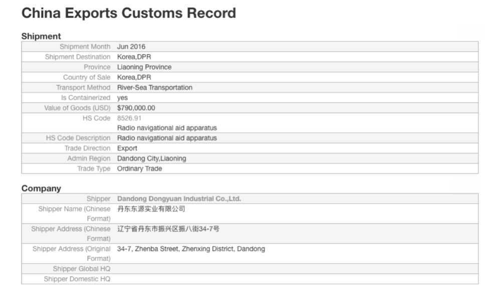 Figure 13: Chinese Custom Record Chinese Customs record for shipment by Dandong Dongyuan Industrial Co. Ltd. of dual-use material to North Korea in June 2016.