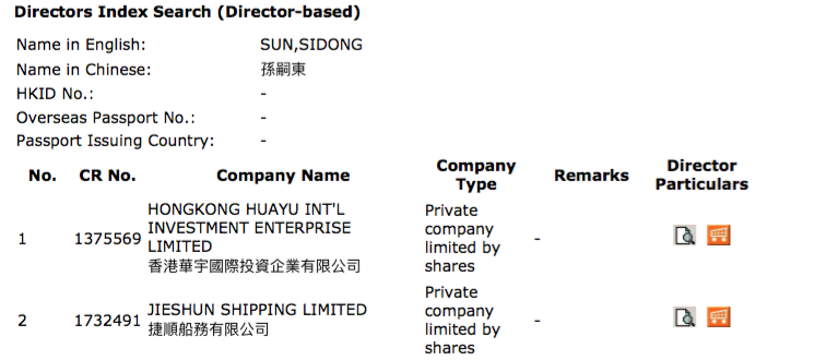 Figure 14: Sun Sidong Hong Kong Director Search Hong Kong business registry director search results for Sun Sidong.