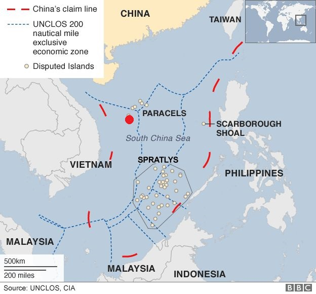 Map of the South China Sea. The dotted blue lines represent UNCLOS' exclusive economic zone boundaries, and HYSY's position in indicated by the red point. Note that while only China's claims are shown, Vietnam likewise lays claim to a large portion of the Sea, including all of the Paracel Islands. Source: BBC