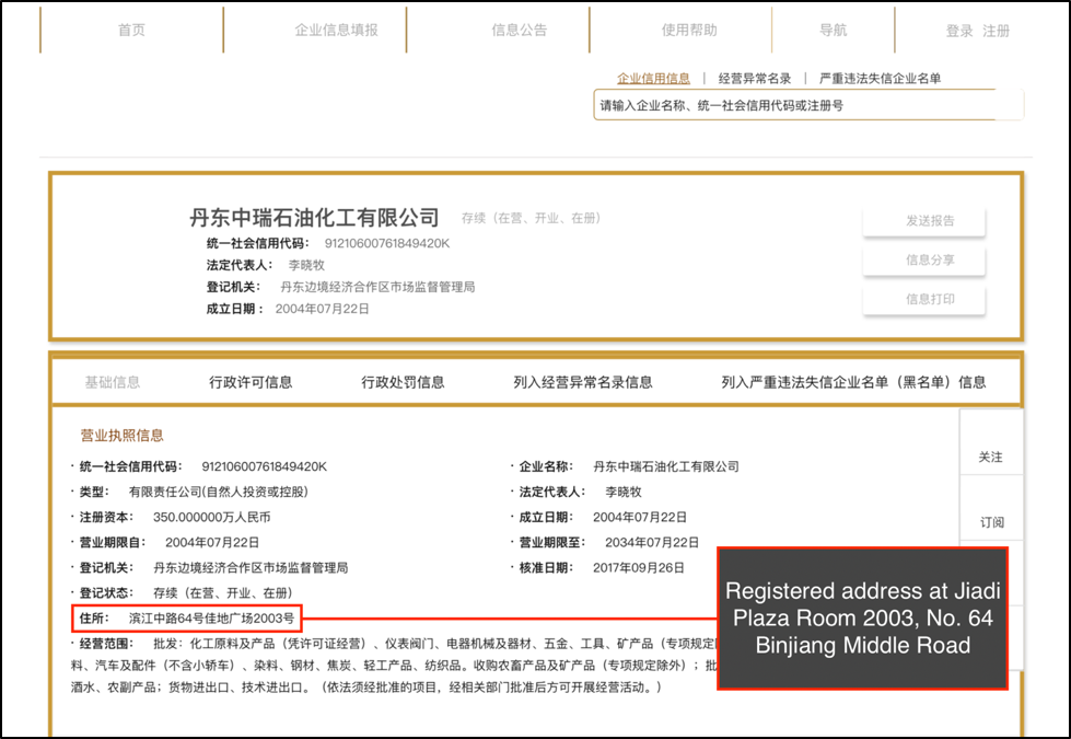 Chinese business registry filing showing Dandong Zhongrui Petrochemical Co.'s registered address