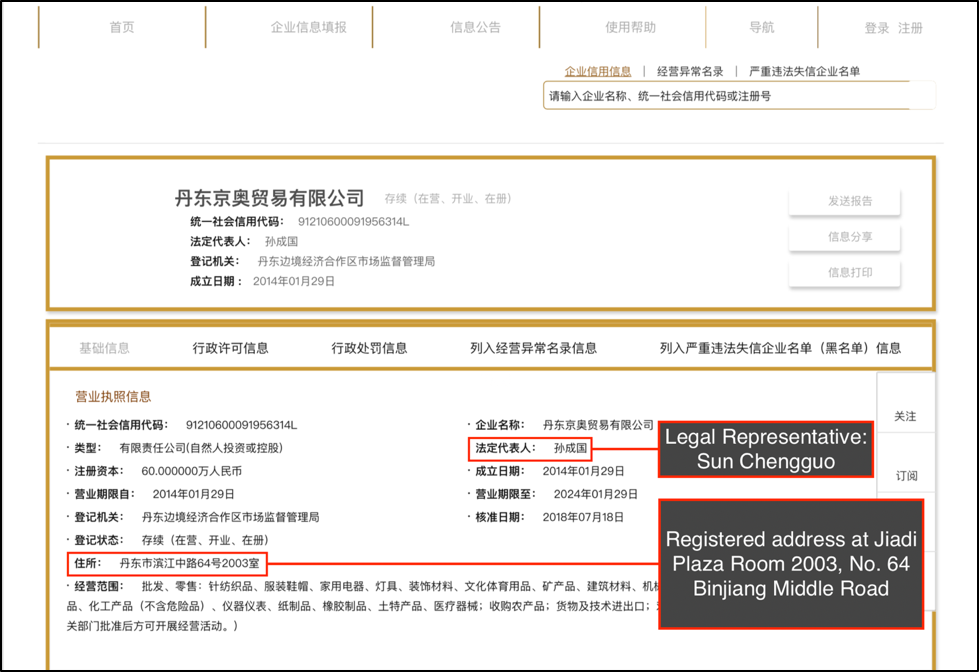 Chinese business registry filing showing that Dandong Jing'ao Trading Co. reported a registered address identical to Dandong Zhongrui Petrochemical, with slight variation between characters (号 and 室)