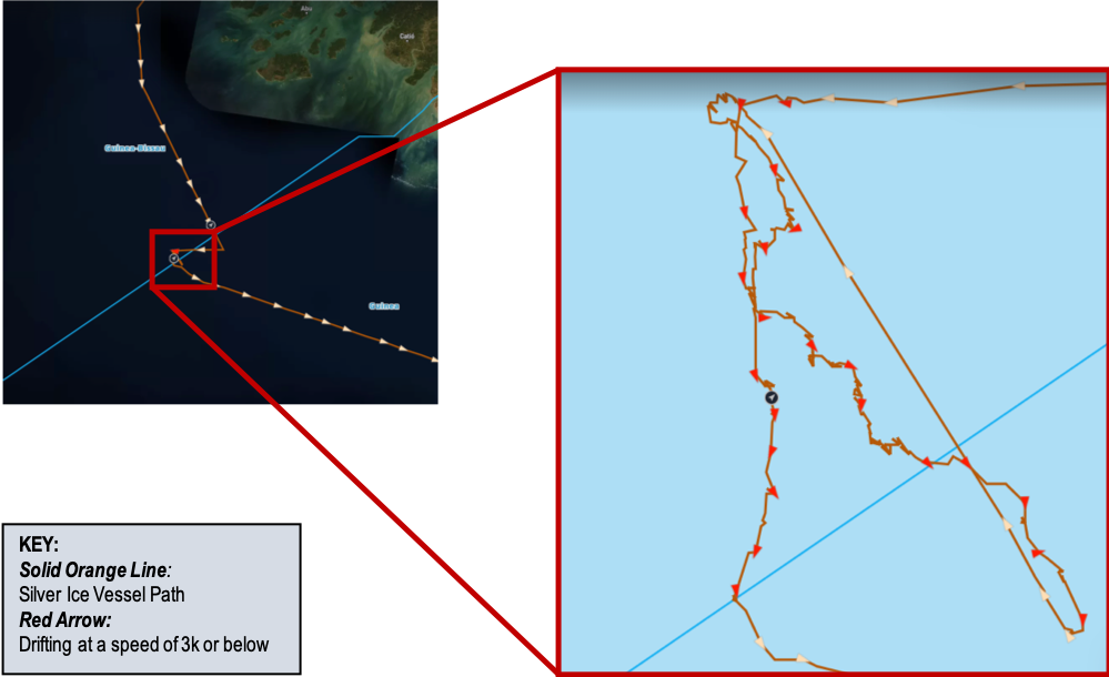 """The SILVER ICE """"drifted"""" on the border of the EEZ of Guinea Bissau and Guinea between January 9 and 11, 2019. Toward the end of its """"drift"""", the SILVER ICE changed its destination from Monrovia, Liberia to Conakry, Senegal."""