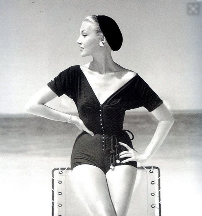 We fell in love with this photo published in Vogue in 1953 (photographed by John Rawlings) of a model that looks like Grace Kelly wearing a Claire McCardell one piece bathing suit. It represents a classic elegance that marries perfectly with the concept we were developing for the next COMPAS ad.