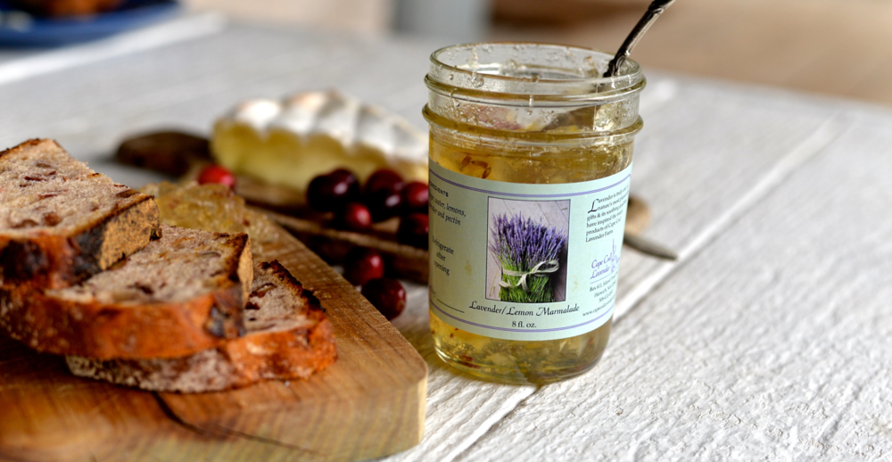 Lavender Lemon Marmalade, made in partnership with Cape Cod Cranberry Harvest.  Photo by Meredith Turk.