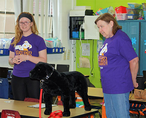 We visit grades K-5. along with out perfectly behaved pup 'Professor Barkely'  -