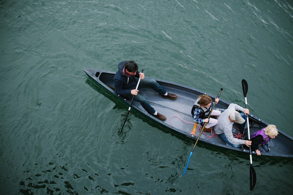 Image from above of canoe
