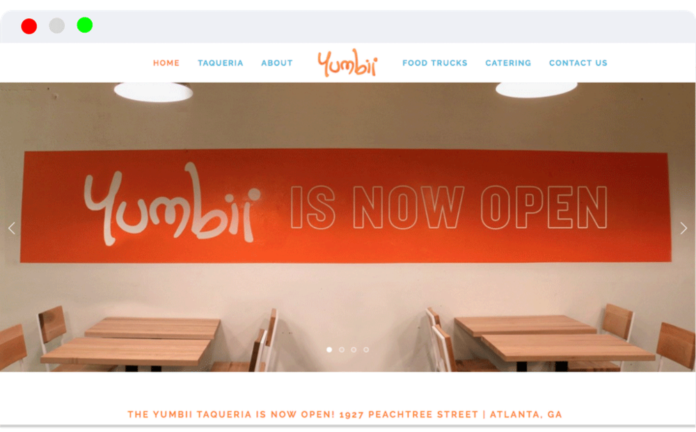 Yumbii Taco Shop - Website design Branding Analytics