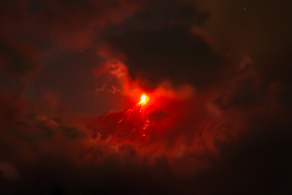 Volcan De Fuego on an active night.
